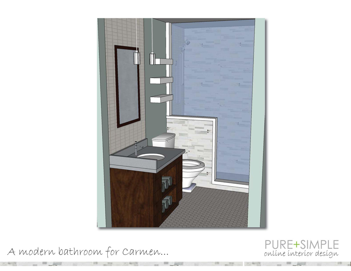 Pure simple online interior design samples interior for Bathroom examples